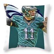 Carson Wentz Philadelphia Eagles Oil Art Throw Pillow