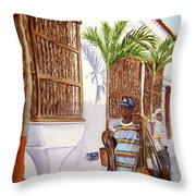 Cartagena Peddler I Throw Pillow