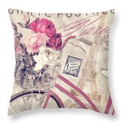 Carte Postale Bicycle Throw Pillow