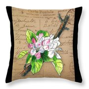 Carte Postale. Blossoming Apple Throw Pillow