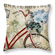 Carte Postale Vintage Bicycle Throw Pillow