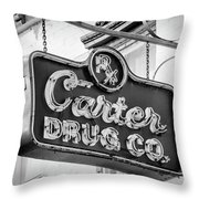 Carter Drug Co - Bw Throw Pillow