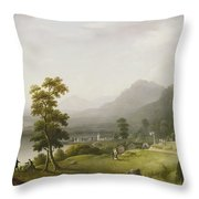 Carter's Tavern At The Head Of Lake George Throw Pillow by Francis Guy
