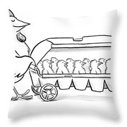 Carton Of Chicks Throw Pillow