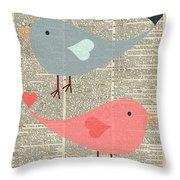 Cartoon Birds In Love  Throw Pillow