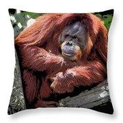 Cartoon Comic Style Orangutan Sitting In Tree Fork Throw Pillow