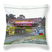 Cartoon Street Art Throw Pillow