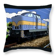 Illustrated Train Throw Pillow