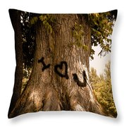 Carve I Love You In That Big White Oak Throw Pillow