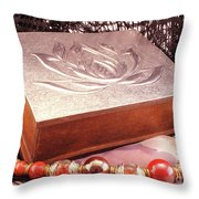 Carved Box In Aluminum. Silver Box And Red Necklace Throw Pillow