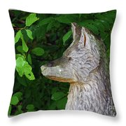 Carved Dogs Head Throw Pillow