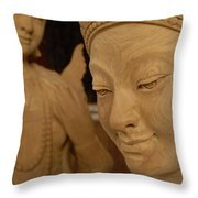 Carved Face Throw Pillow