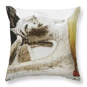 Carved Stone Buddha Statue Wat Temple Complex In Old Siam Kingdom, Ayutthaya, Thailand Throw Pillow