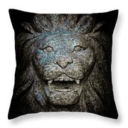 Carved Stone Lion's Head Throw Pillow