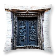 Carved Window Shutters Throw Pillow