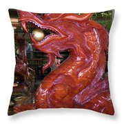 Carved Wood Dragon With Ball In Mouth Throw Pillow