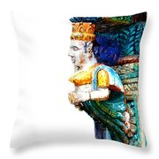 Carved Wooden Column Throw Pillow