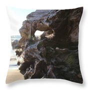 Carving Driftwood Throw Pillow