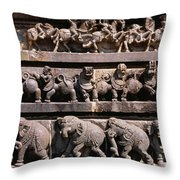 Carving On The Wall Of A Temple Throw Pillow