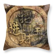 Carvings In Jade - 2 - My Lucky Coin  Throw Pillow