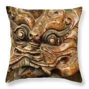 Carvings In Jade - 3 - A Dragon's Face  Throw Pillow