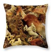 Carvings In Jade - 6 - Wild Horses  Throw Pillow