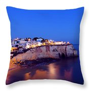 Carvoeiro In The Algarve Portugal At Night Throw Pillow