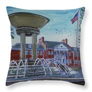 Cary Arts Center And Fountain Throw Pillow