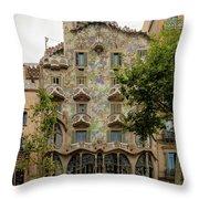 Casa Batllo In Barcelona, Spain Throw Pillow