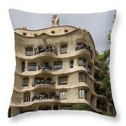 Casa Mila In Barcelona, Spain Throw Pillow