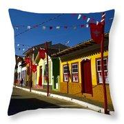 Colonial Colofrul Houses At Sao Luiz Do Paraitinga - Brazil Throw Pillow