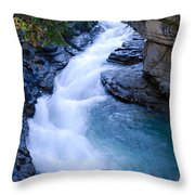 Cascade In The Maligne Canyon Throw Pillow