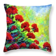 Cascade Of Geraniums Throw Pillow