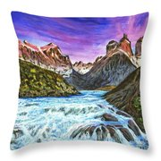 Cascades In Patagonia Painting Throw Pillow