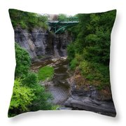 Cascadilla Gorge Cornell University Ithaca New York 01 Throw Pillow