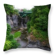 Cascadilla Gorge Cornell University Ithaca New York 02 Throw Pillow