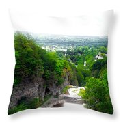 Cascadilla Gorge Cornell University Ithaca New York Panorama Throw Pillow