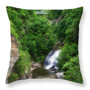 Cascadilla Waterfalls Cornell University Ithaca New York 01 Throw Pillow