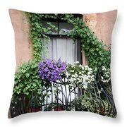 Cascading Floral Balcony Throw Pillow