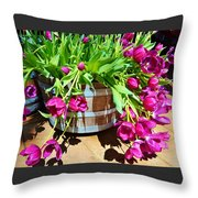 Cascading Purple Tulips  Throw Pillow
