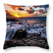 Cascading Water At Sunset Throw Pillow