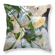 Cascading White Roses Throw Pillow