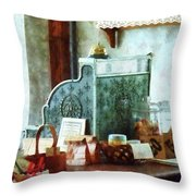 Cash Register In General Store Throw Pillow