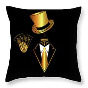 Casino Logo With Skull Icon And Cards, Gold And Black Color Throw Pillow