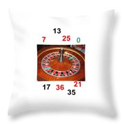 Casino Roulette Wheel Lucky Numbers Throw Pillow