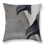 Cast Iron Rain Spouts In Stucco Building Photograph By Colleen Throw Pillow
