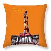 Castellers De Catalunya Throw Pillow