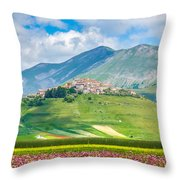 Castelluccio Di Norcia With Beautiful Summer Fields Throw Pillow