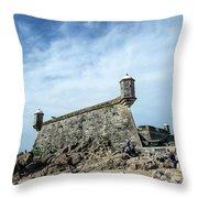 Castelo Do Queijo Old Fort Landmark In Porto Portugal Throw Pillow