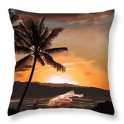 Casting Net At Sunset Throw Pillow